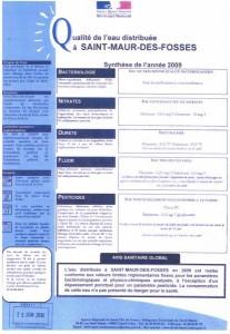 Qualité de l'eau 2009