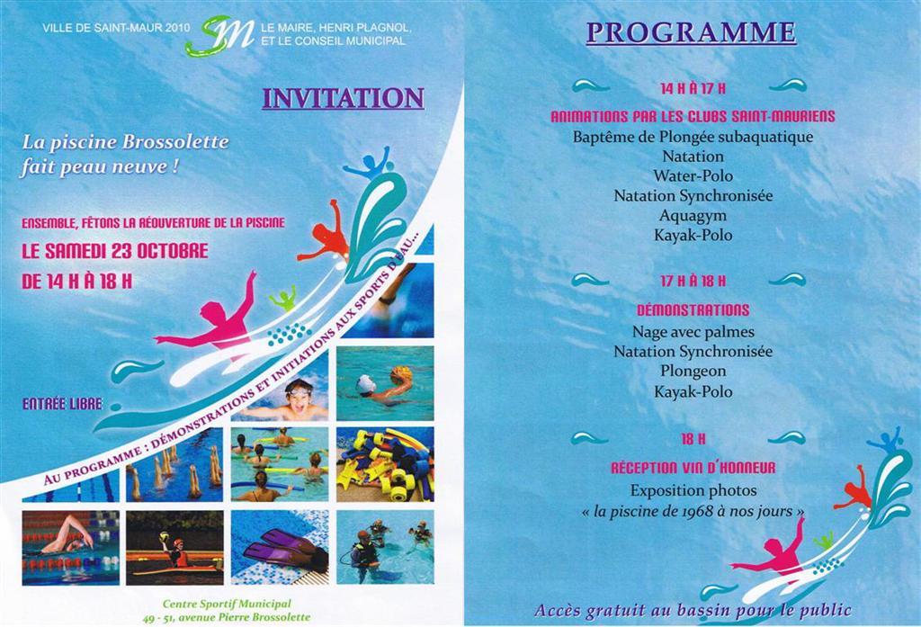 Inauguration de la piscine brossolette comit de for Brossolette piscine